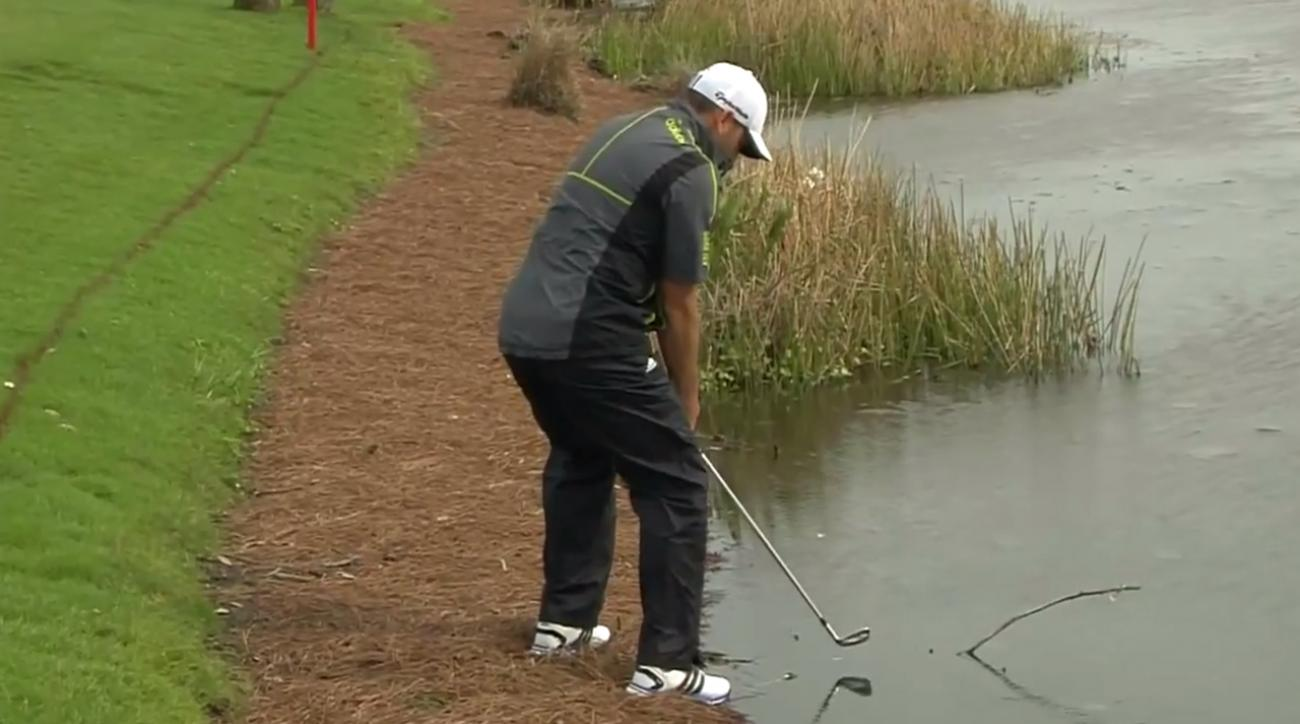 Sergio Garcia made a splash with this par save.