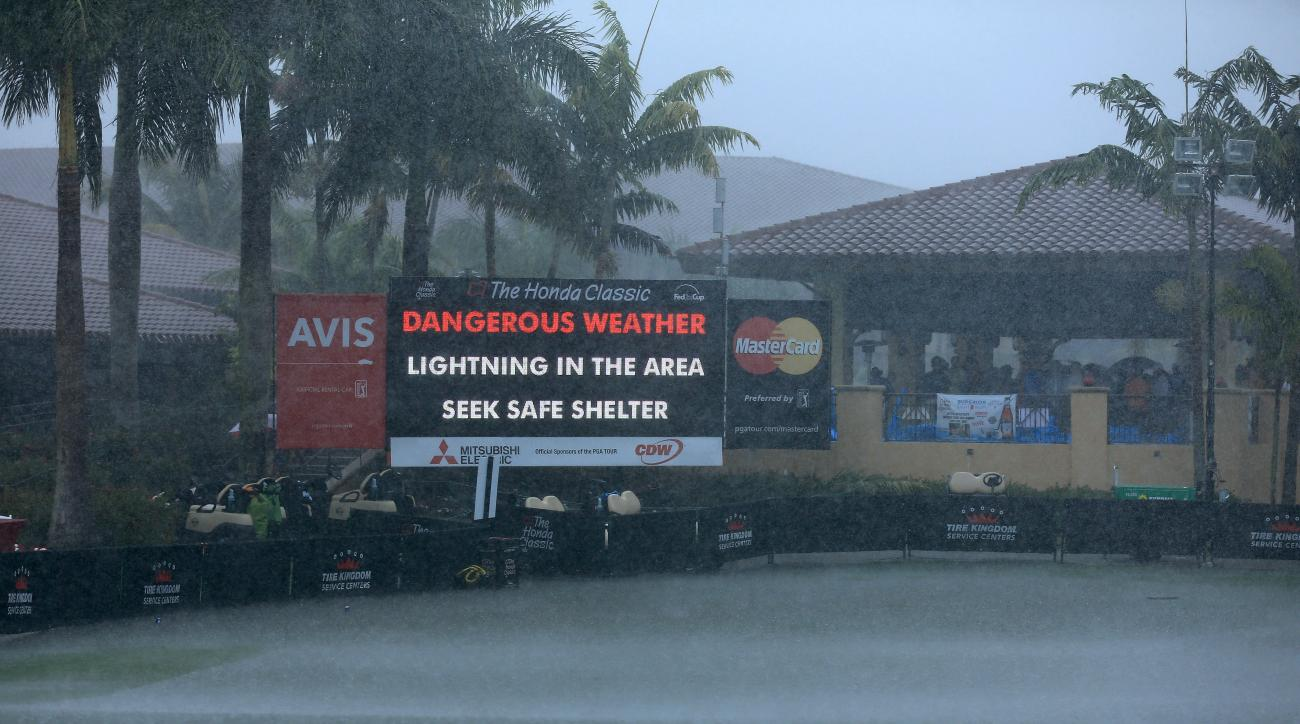 Third-round play at the Honda Classic was suspended due to inclement weather on Saturday.