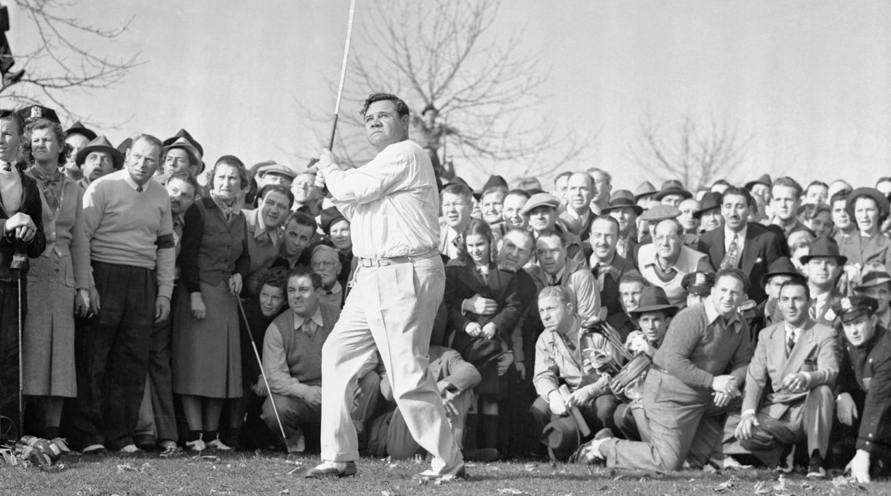 Ruth blasts a tee shot at a Long Island four-ball match in 1937.