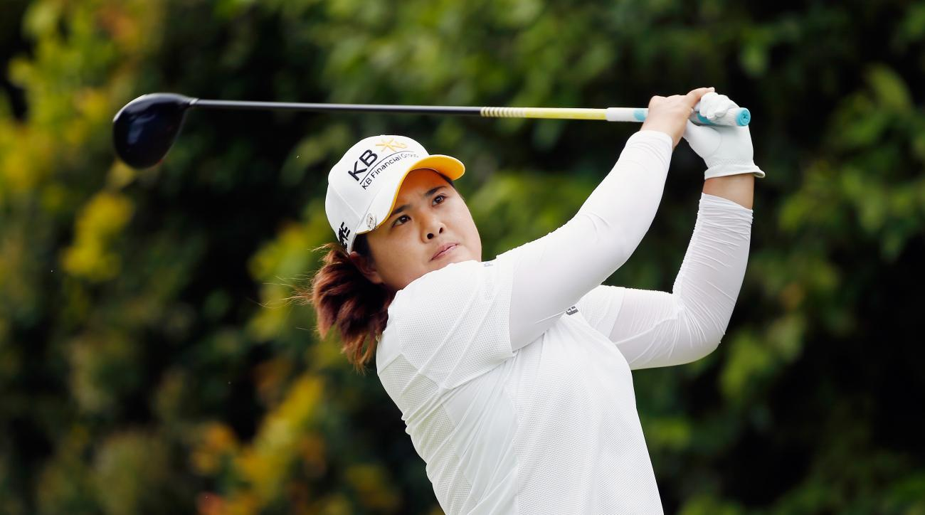 Inbee Park tees off on the 12th hole during the final round of the HSBC Women's Champions.