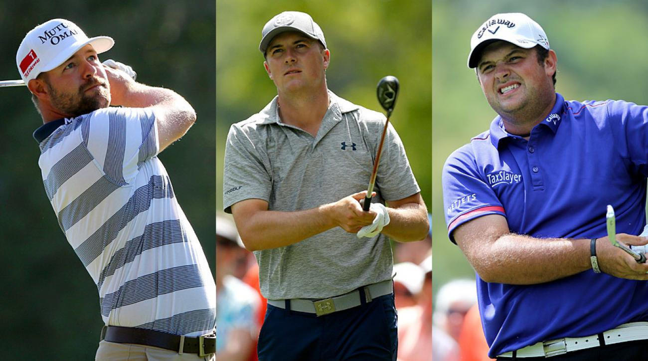From left to right: Ryan Moore, Jordan Spieth, and Patrick Reed will battle for the win Sunday at Innisbrook.