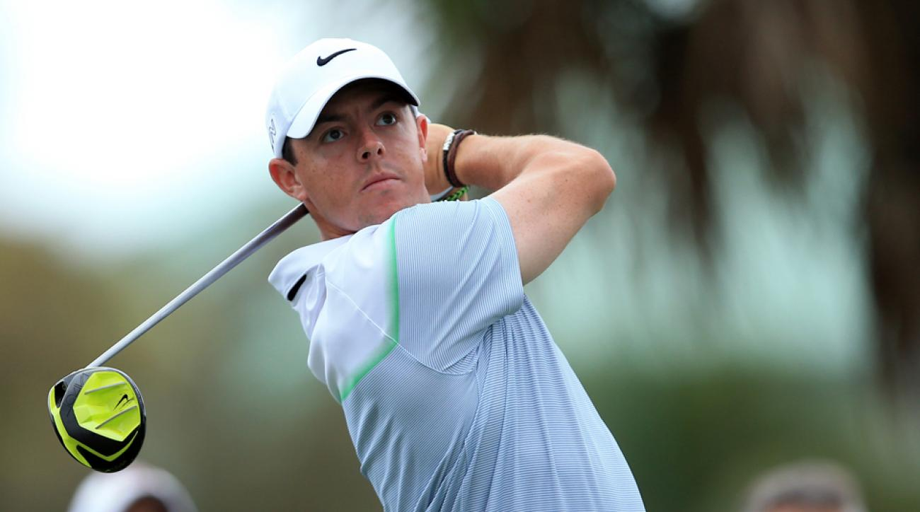 Rory McIlroy of Northern Ireland plays his tee shot on the 14th hole during the final round of the WGC-Cadillac Championship at Trump National Doral Blue Monster Course on March 8, 2015, in Doral, Florida.
