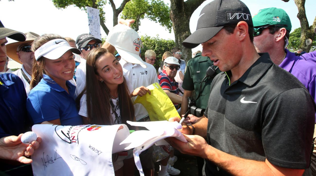 Rory McIlroy signs autographs Wednesday after finishing the pro-am round at the Arnold Palmer Invitational in Orlando, Florida.