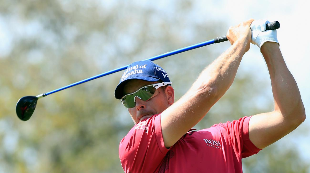 Henrik Stenson tees off on the eighth hole during the third round of the Arnold Palmer Invitational at Bay Hill.