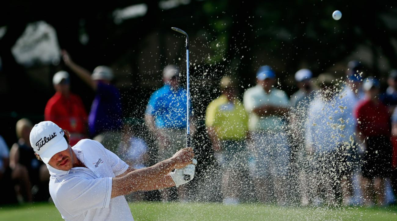 Brooks Koepka hits his second shot from a bunker on the second hole during the final round of the Arnold Palmer Invitational at the Bay Hill Club and Lodge Sunday in Orlando, Florida.
