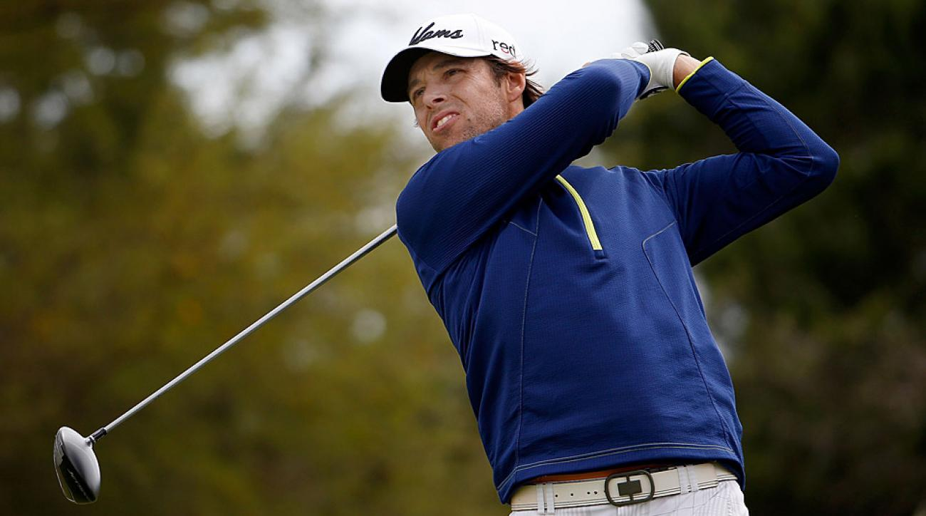 Aaron Baddeley during the first round at the Valero Texas Open.