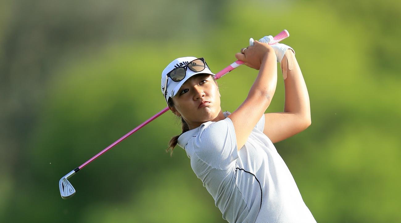 Lydia Ko plays her second shot on the 18th hole during the second round of the ANA Inspiration at Dinah Shore.