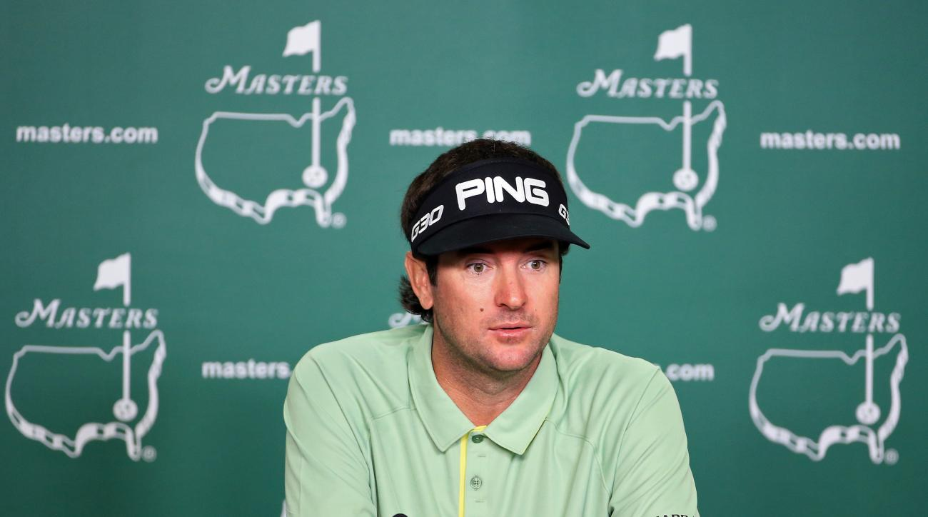 Two-time Masters champion Bubba Watson addresses the media prior to the start of the 2015 Masters Tournament.