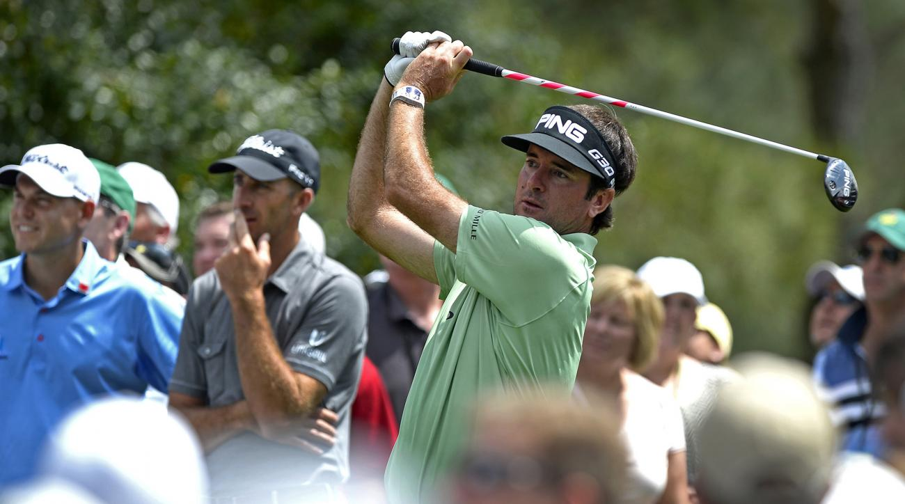 Bubba Watson hits a tee shot during his Masters practice round on Tuesday.