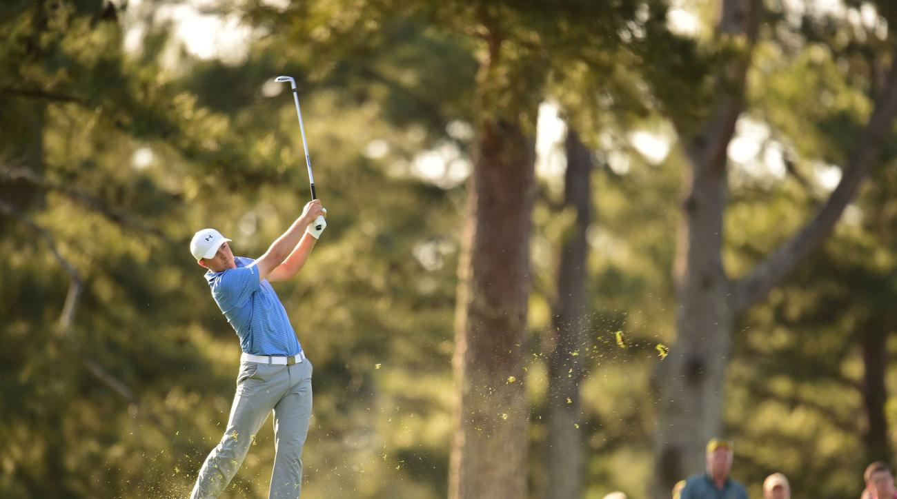 Jordan Spieth plays his second shot on the 14th hole during the third orund of the 2015 Masters.