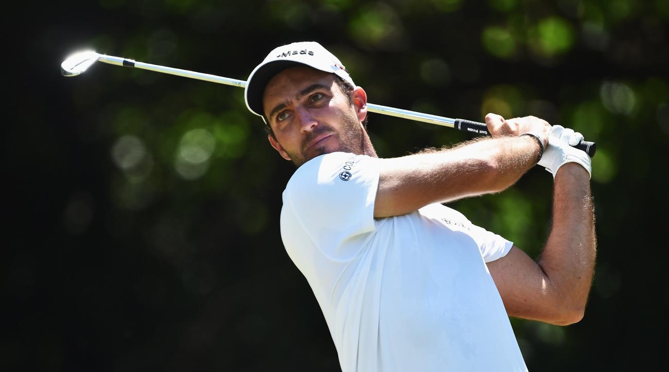 Edoardo Molinari of Italy plays a shot during the final round of the 2015 Tshwane Open at Pretoria Country Club in South Africa.