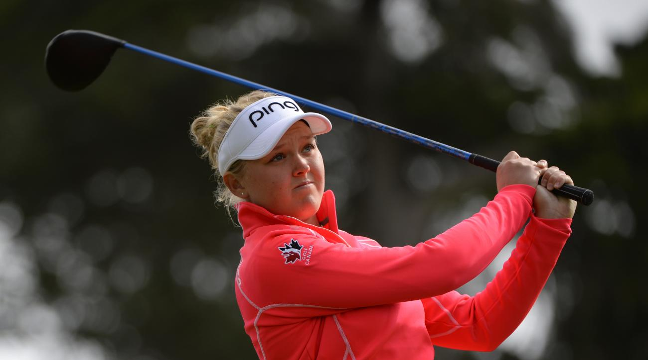 Brooke Henderson tees off on the 17th hole during the second round of the Swinging Skirts LPGA Classic on Friday.