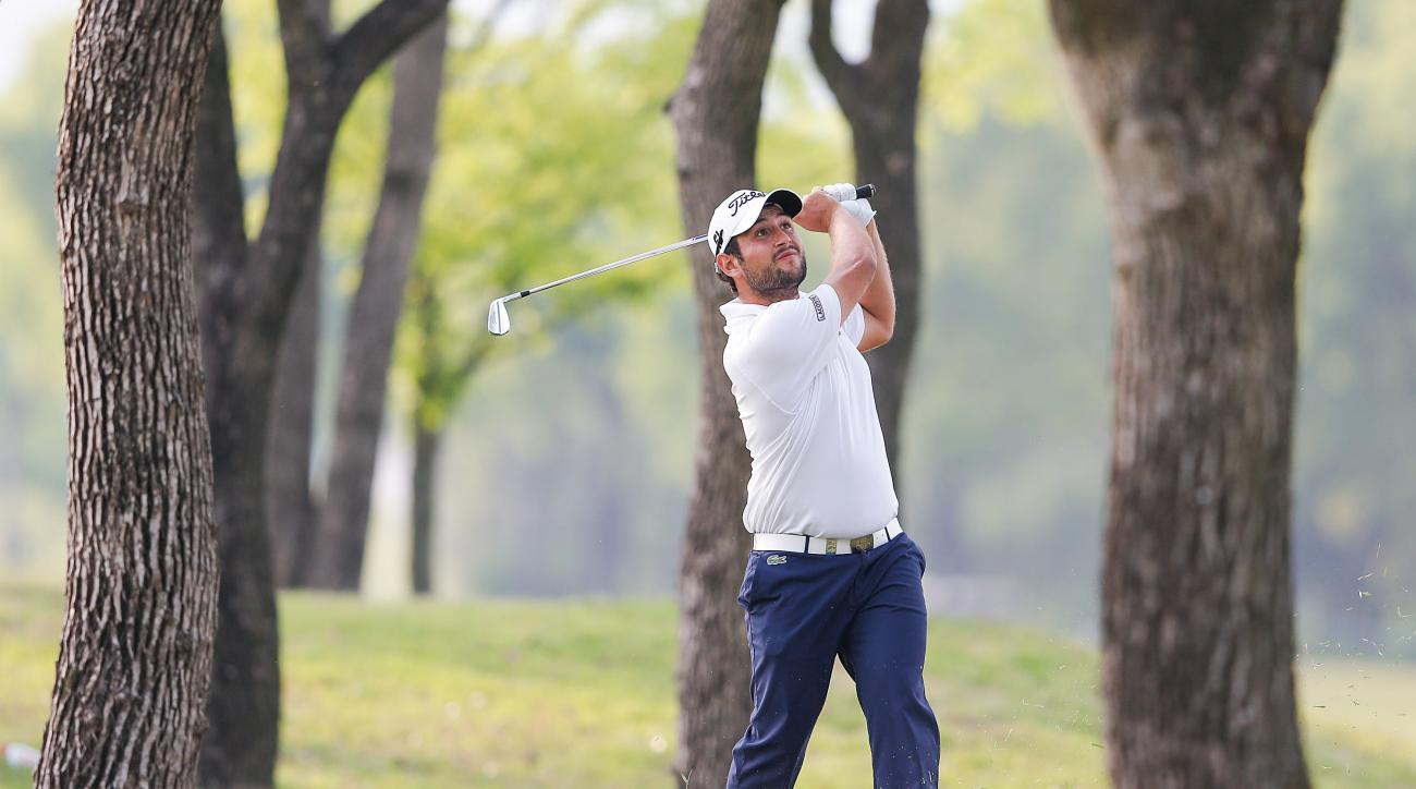 Alexander Levy plays a shot during the third round of the Volvo China Open on Saturday.