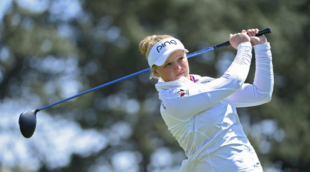 Brooke Henderson tees off on the fifth hole during the third round of the Swinging Skirts LPGA Classic on Saturday.