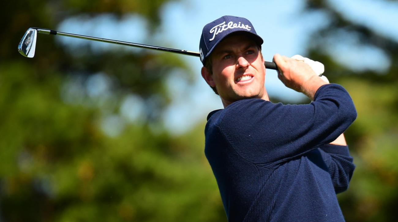 Webb Simpson watches his shot during the first round of the WGC-Cadillac Match Play Wednesday at Harding Park in San Francisco.