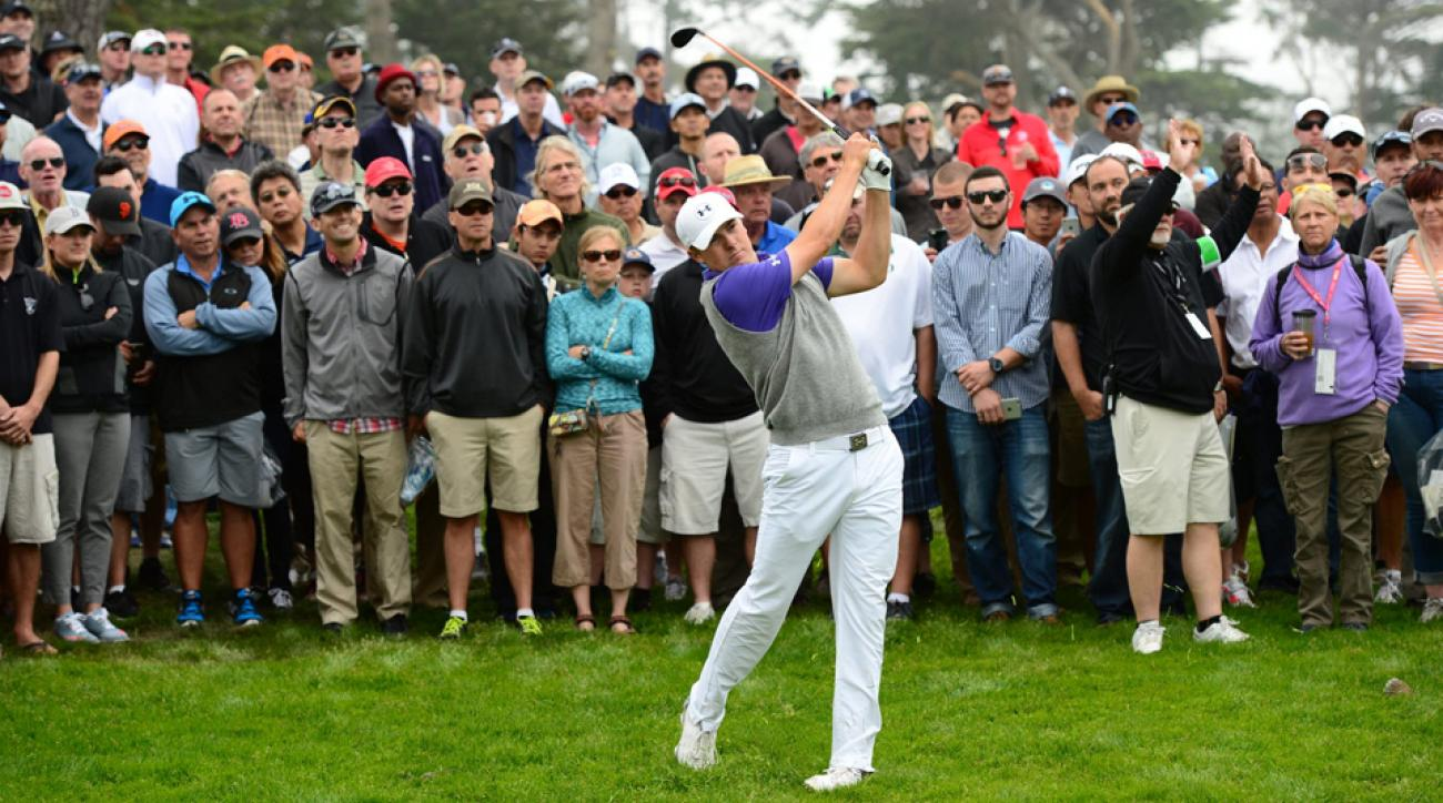 Jordan Spieth watches his shot during the third day of the WGC-Cadillac Match Play Friday at TPC Harding Park in San Francisco. Spieth, the Masters champion, was sent home after losing to Lee Westwood.