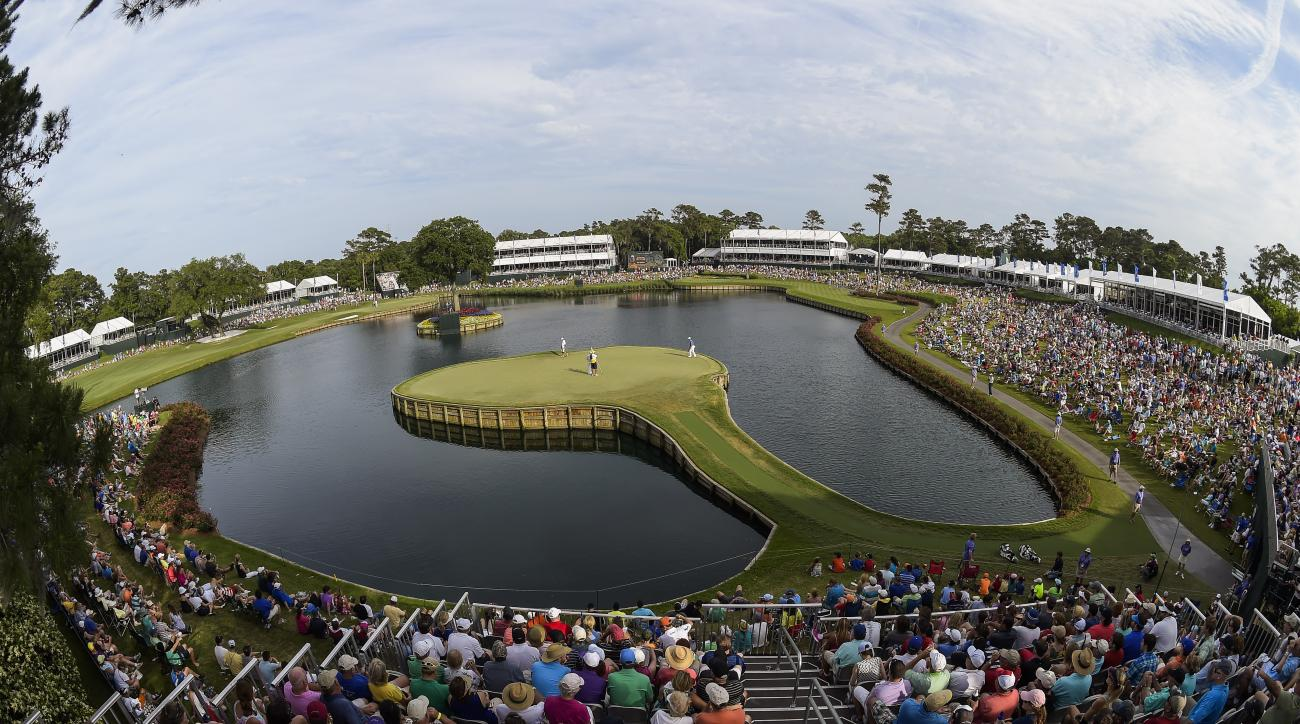 A scenic view of the 17th hole at the Stadium Course at TPC Sawgrass during the third round of the Players Championship.