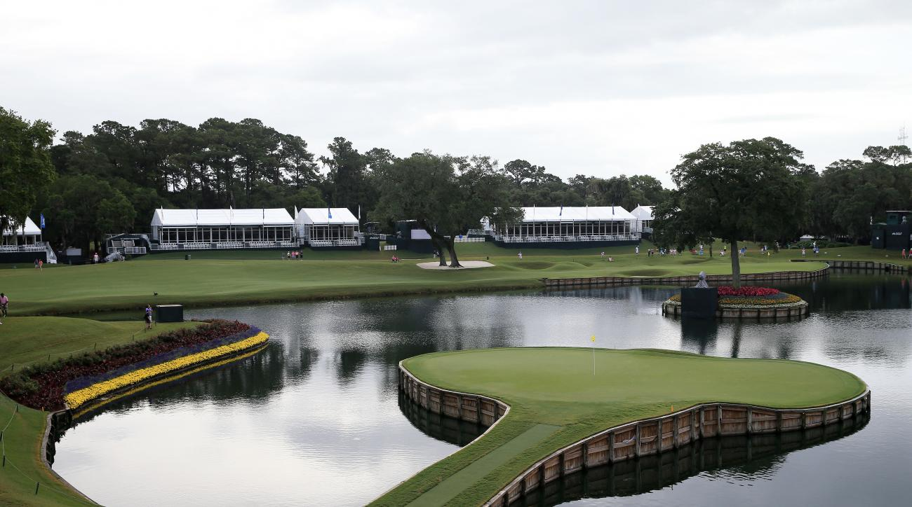 The iconic island green 17th hole at the Players Stadium Course at TPC Sawgrass in Ponte Vedra Beach, Fla.