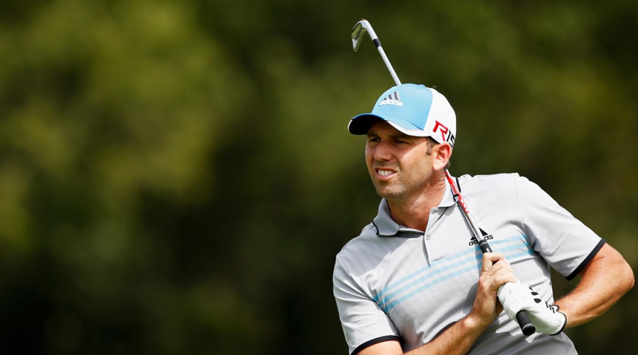 Sergio Garcia of Spain hits his second shot on the ninth hole during the first day of the Open de Espana on May 14, 2015, in Barcelona, Spain.