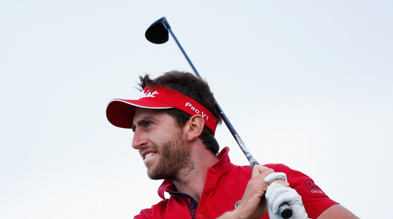 Edouard Espana tees off on the 17th hole during the second round of the Spanish Open.