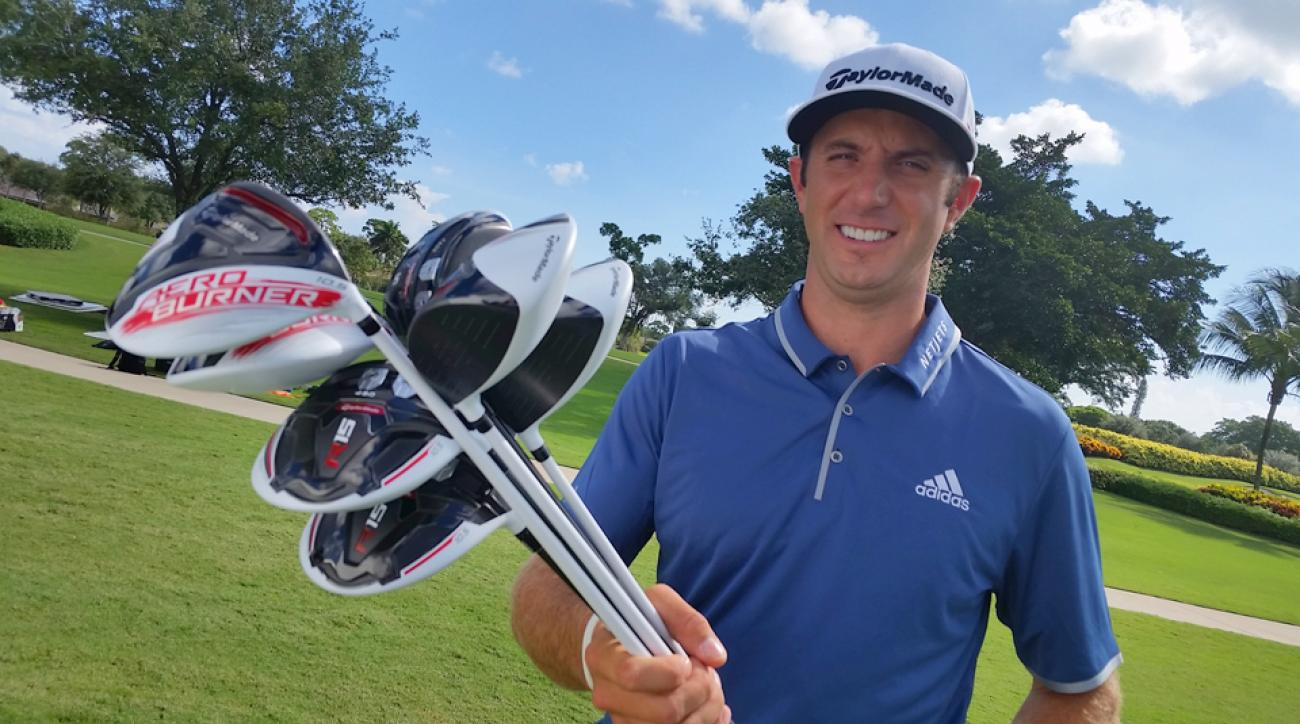 Dustin Johnson with TaylorMade R15 and TaylorMade AeroBurner drivers.