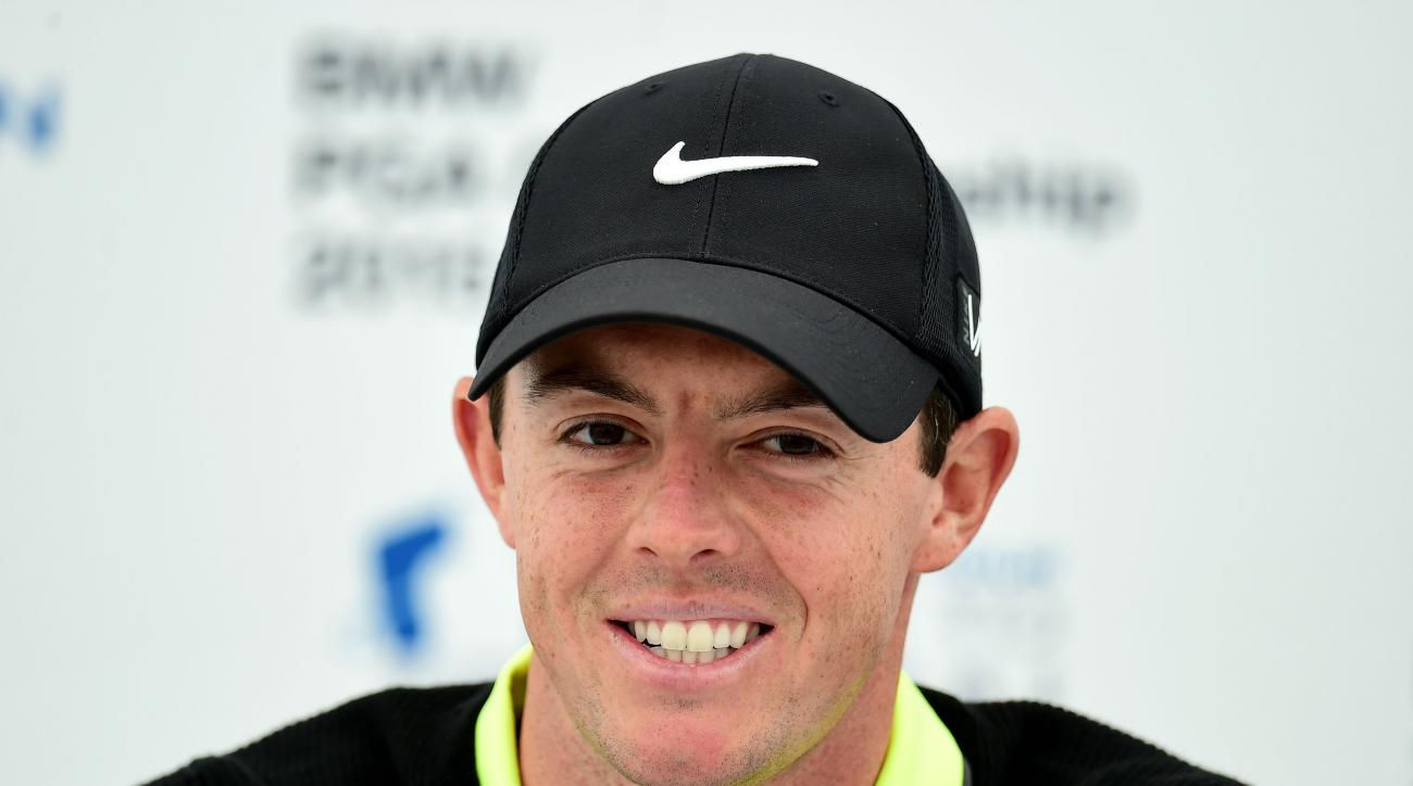 Northern Ireland's Rory McIlroy speaks during a press conference, following his round in the Pro-Am at the 2015 BMW PGA Championship at the Wentworth Golf Club, Surrey, England, Wednesday, May 20, 2015. (Adam Davy/PA via AP)     UNITED KINGDOM OUT     -