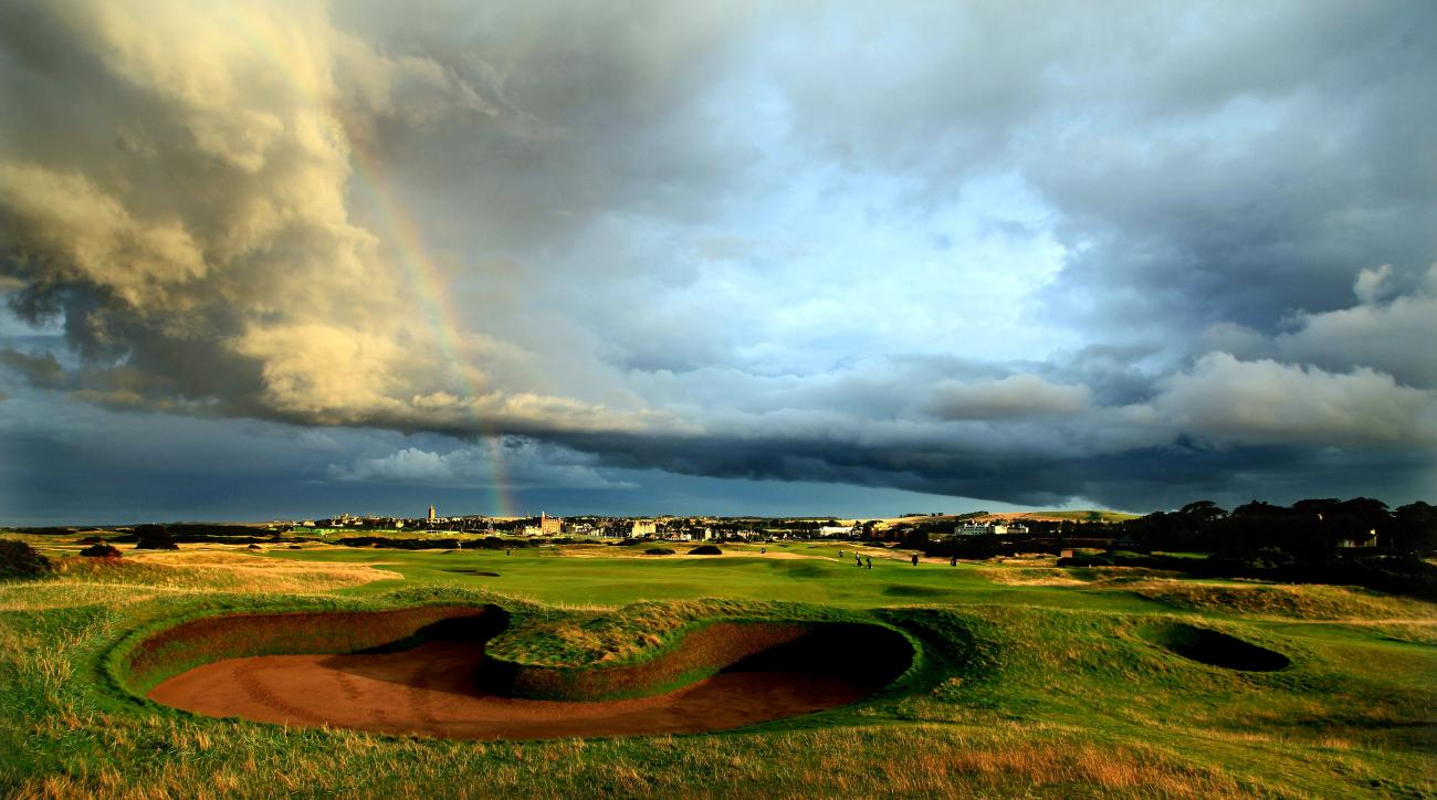 The par 5, 14th hole protected by the famous 'Hell Bunker' on the approach to the green on the Old Course at St. Andrews in Scotland.