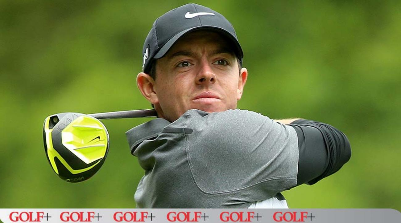 Rory McIlroy tees off during the second round of the BMW PGA Championship.