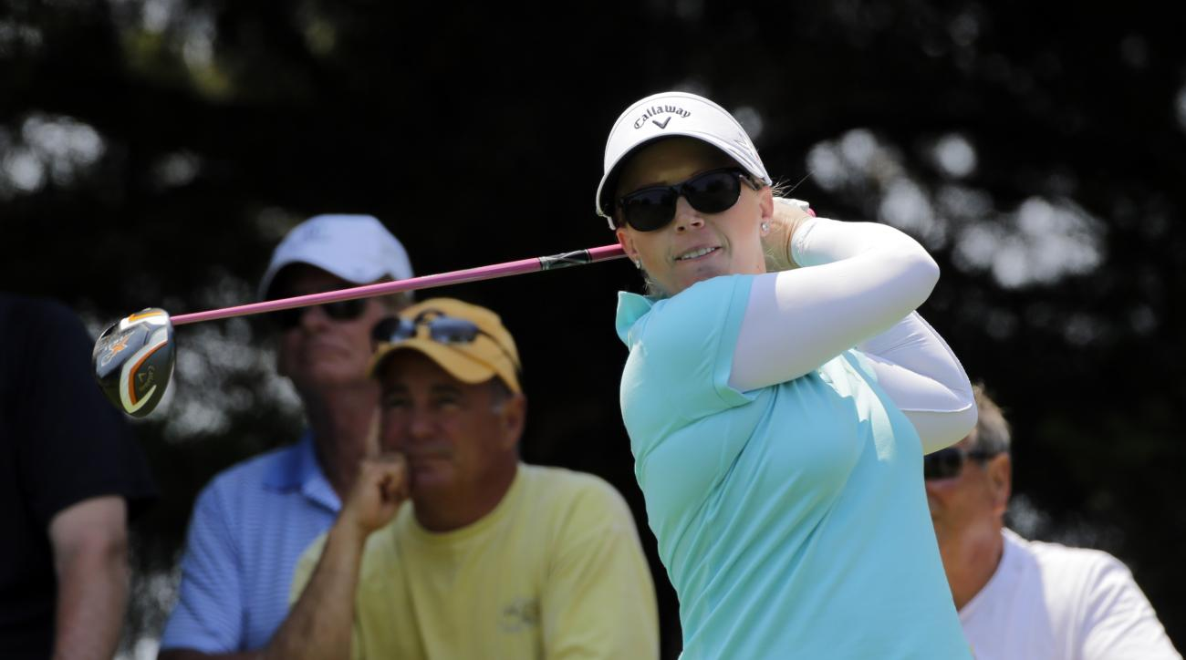 Morgan Pressel tees off on the eighth hole during the first round of the ShopRite LPGA Classic.