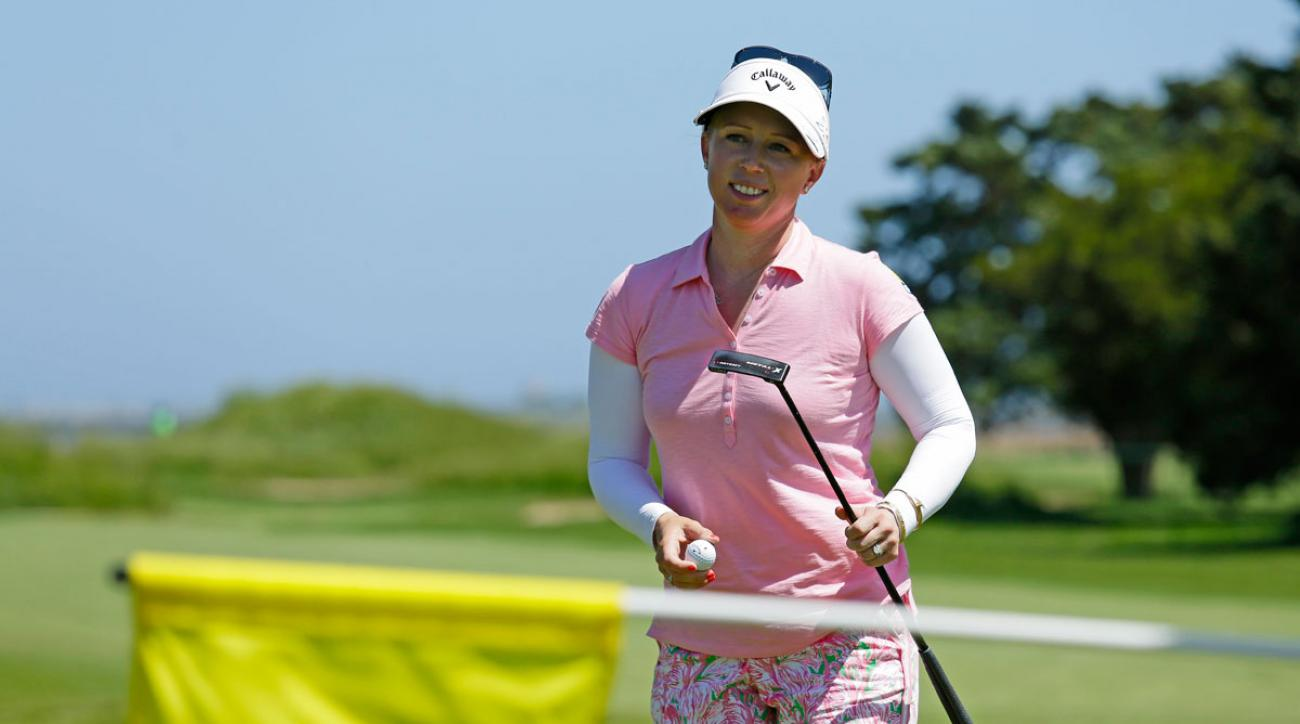 Morgan Pressel has a one-shot lead at the LPGA's ShopRite Classic.