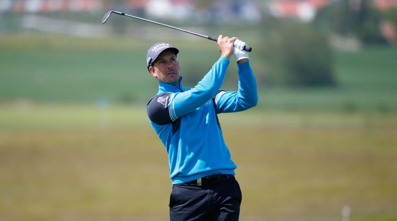 Henrik Stenson of Sweden plays off the fairway at the third during the Nordea Masters Pro-Am day at the PGA Sweden National.
