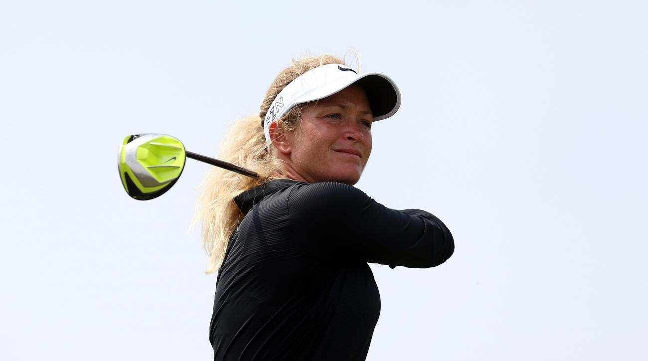 Suzann Pettersen tees off on the 16th hole during the second round of the Manulife LPGA Classic.