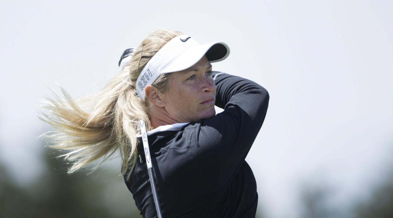 Suzann Pettersen, of Norway, hits off the sixth tee during the third round of the 2015 Manulife LPGA Classic, Saturday, June 6, 2015 in Cambridge, Ontario. (Peter Power/The Canadian Press via AP) MANDATORY