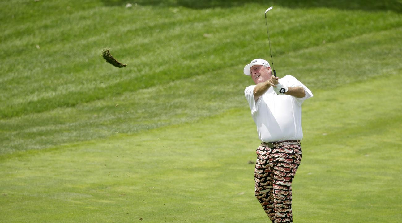 Mark Calcavecchia hits on the third fairway during the final round of the Champions Tour's Principal Charity Classic golf tournament, Sunday, June 7, 2015, in Des Moines, Iowa. (AP Photo/Charlie