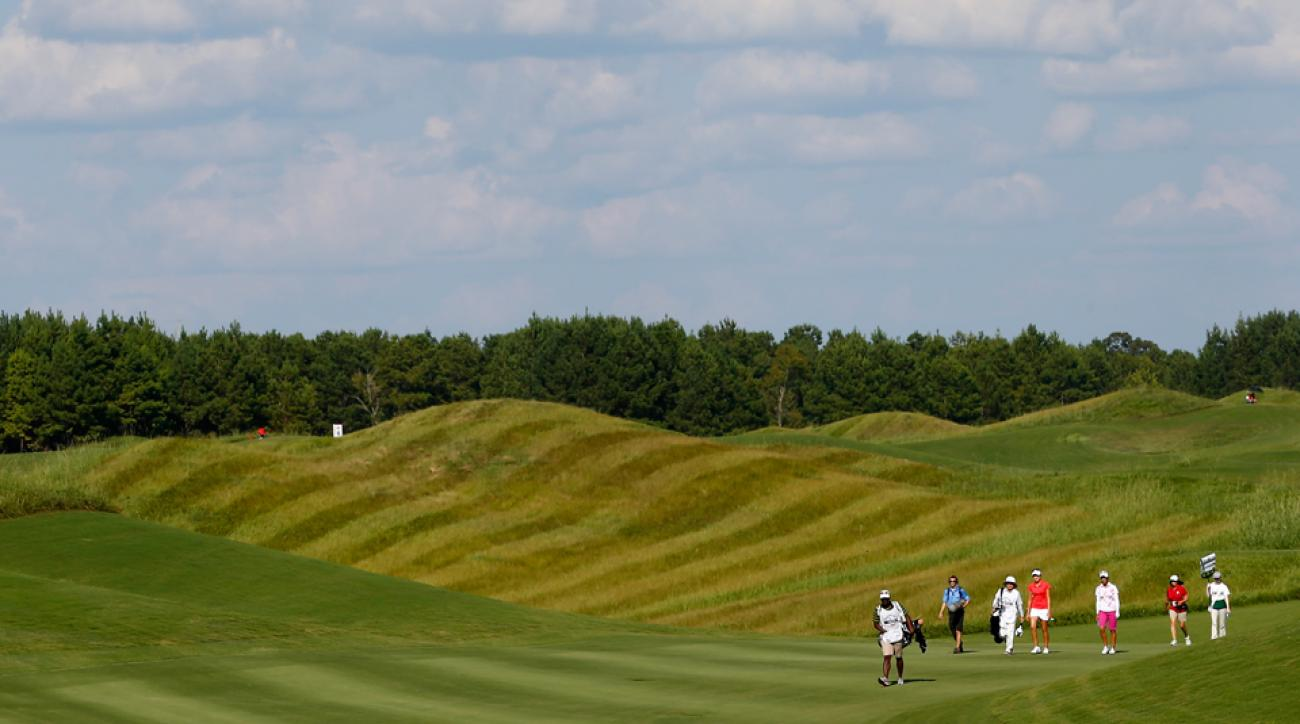 The Robert Trent Jones Golf Trail at Capitol Hill Senator Course in Prattville, Alabama, is shown during an LPGA Tournament in 2014.