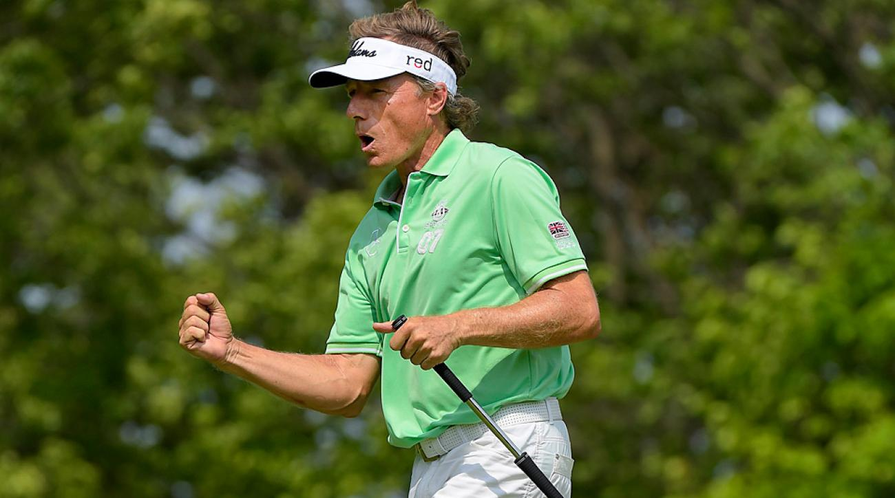 Bernhard Langer shot a 6-under-par 65 in the first round of the Senior Players Championship.