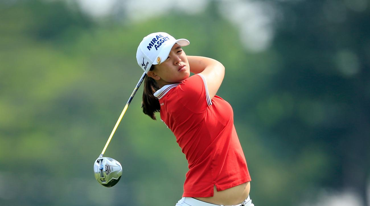 Sei Young Kim tees off on the 18th hole during the first round of the KPMG Women's PGA Championship.
