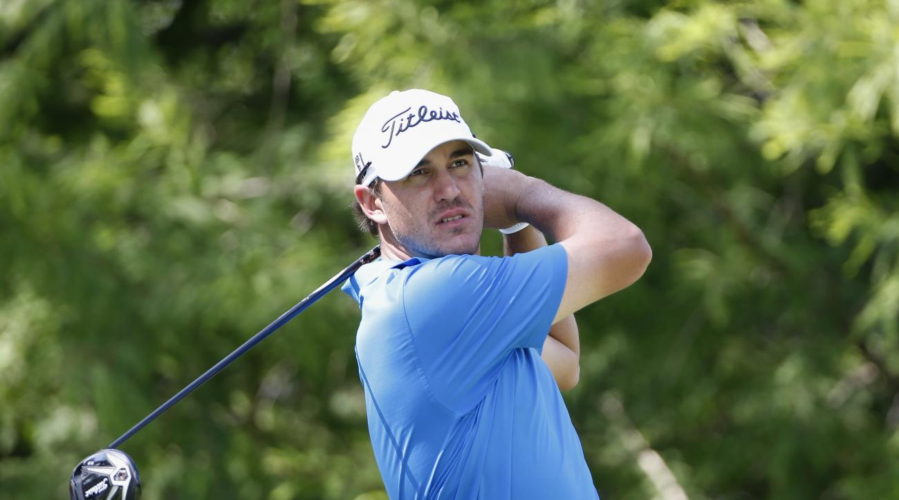 Brooks Koepka tees off on the 12th hole during the second round of the FedEx St. Jude Classic.