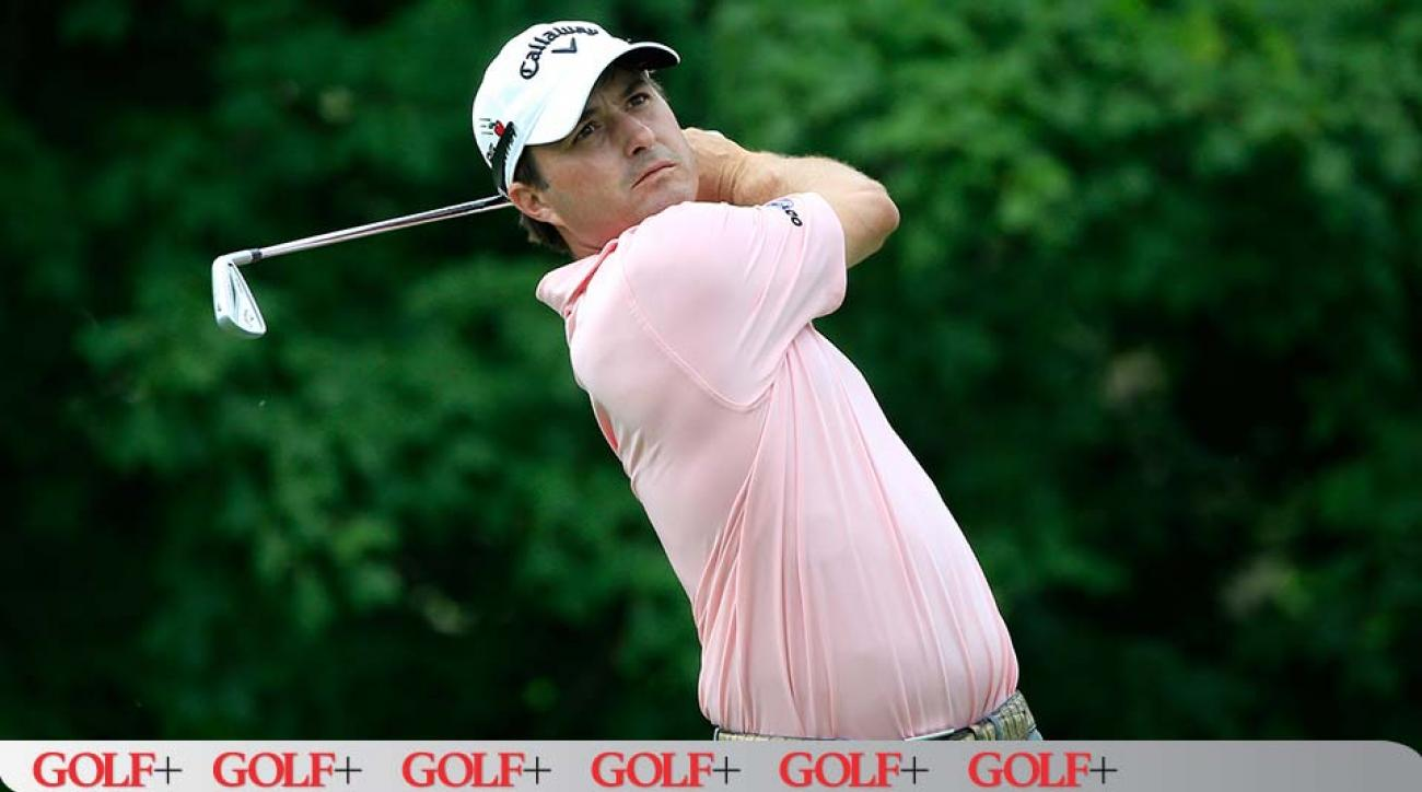 Kevin Kisner tees off on the 14th hole during the final round of The Memorial Tournament.