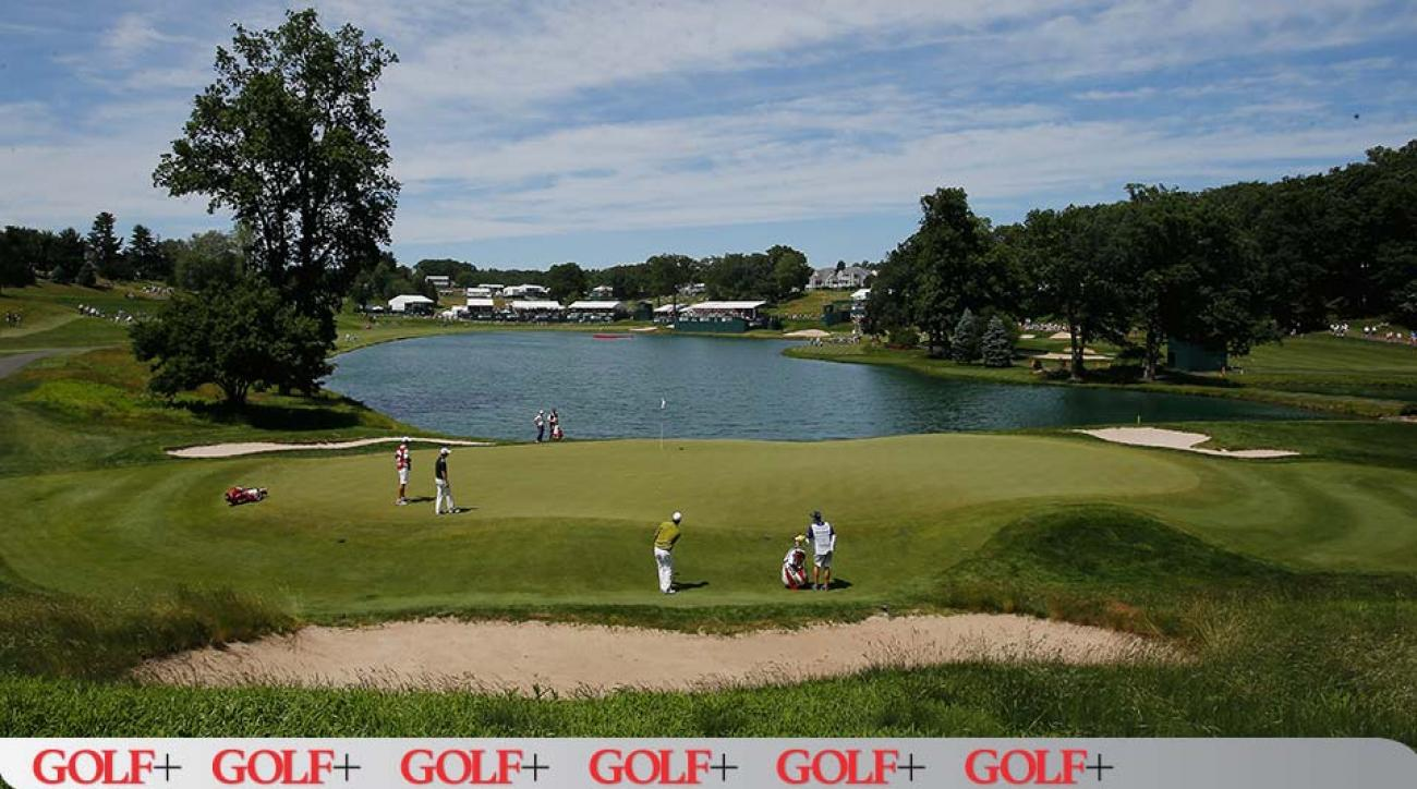 A view of the 16th hole at TPC River Highlands, host of the Travelers Championship.