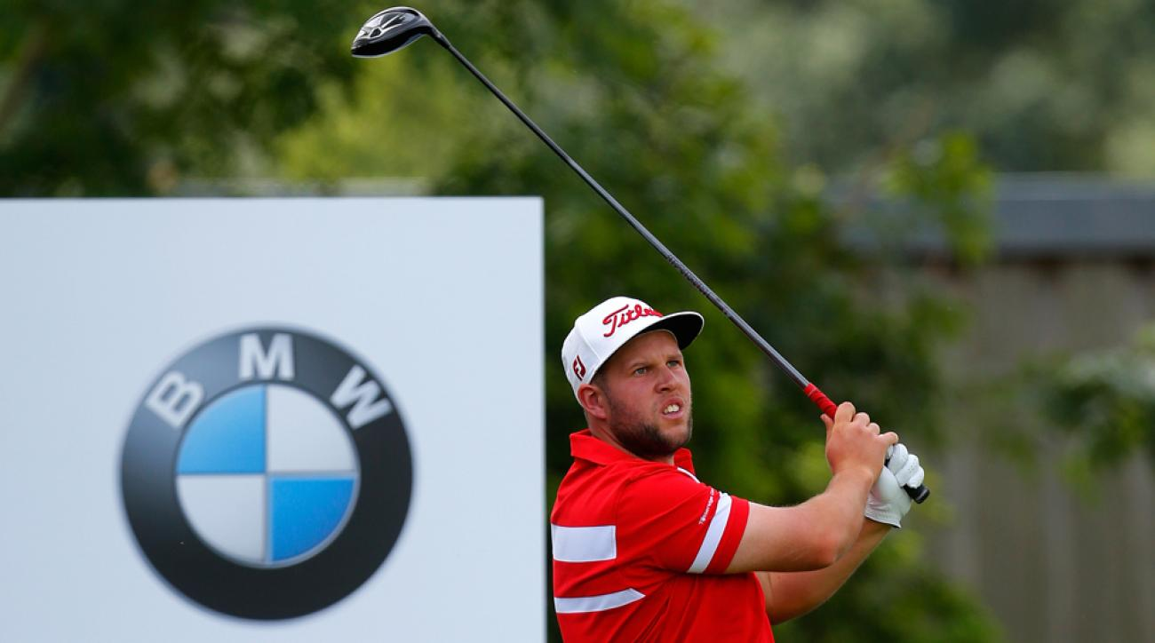 Andrew Johnston of England tees off during the first round of the BMW International Open at the Eichenried Golf Club on June 25, 2015, in Munich, Germany.