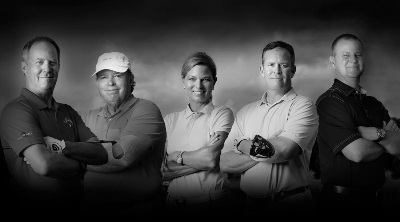 Cut your handicap in half in 30 days with help from our Scratch Squad of Top 100 teachers (from left) Scott Munroe, Mike Adams, Kellie Stenzel, Mark Hackett and Jon Tattersall.
