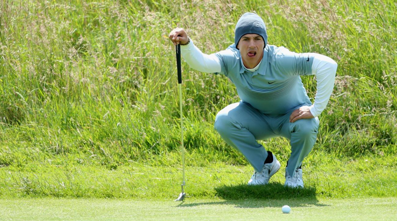 Thorbjorn Olesen of Denmark lines up his putt on the 18th hole during the first round of the Aberdeen Asset Management Scottish Open at Gullane Golf Club on July 9, 2015, in Gullane, East Lothian, Scotland.