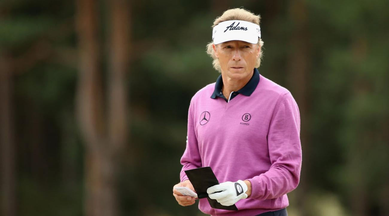Bernhard Langer of Germany waits to play on the second hole during the first round of The Senior Open Championship at Sunningdale Golf Club on July 23, 2015 in Sunningdale, England.