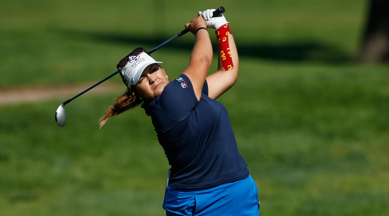 Lizette Salas plays a shot from the eighth fairway during the first round of the Meijer LPGA Classic.