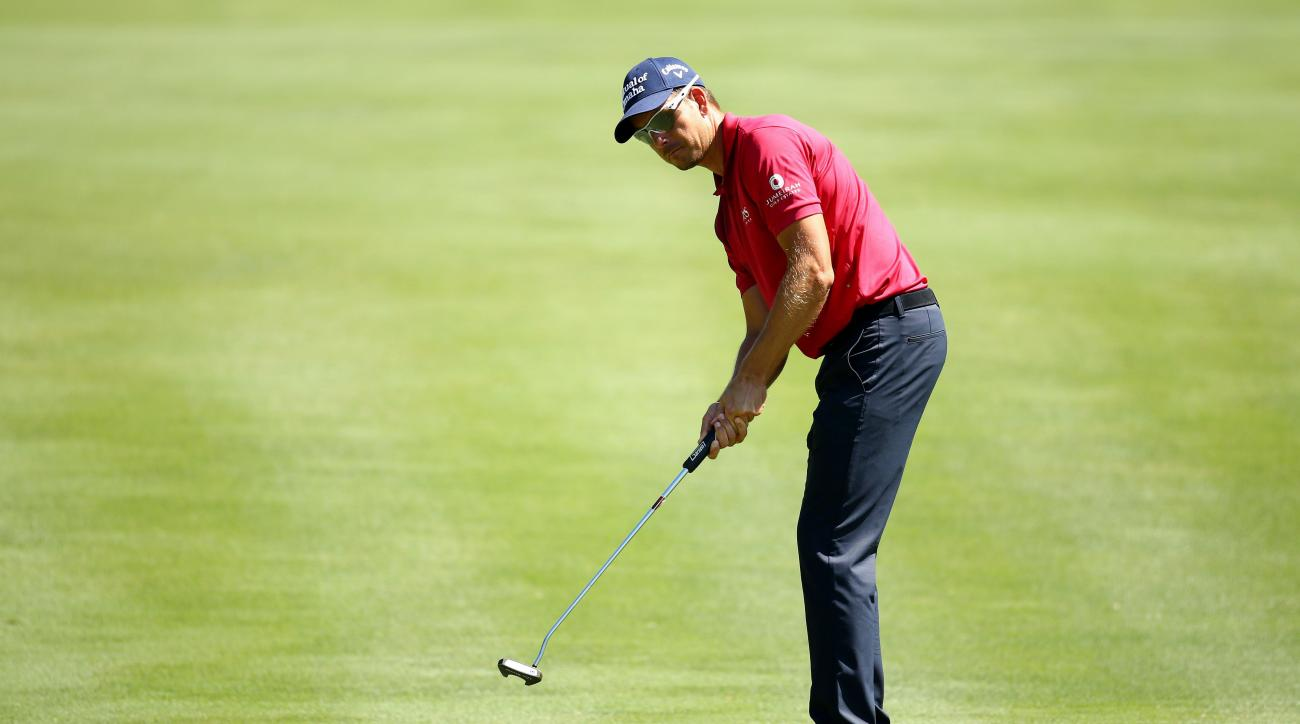 Henrik Stenson putts onto the second green during round two of the 2015 PLAYERS Championship.