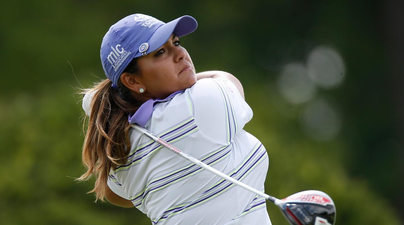 Lizette Salas tees off on the 10th hole during the third round of the Meijer LPGA Classic.