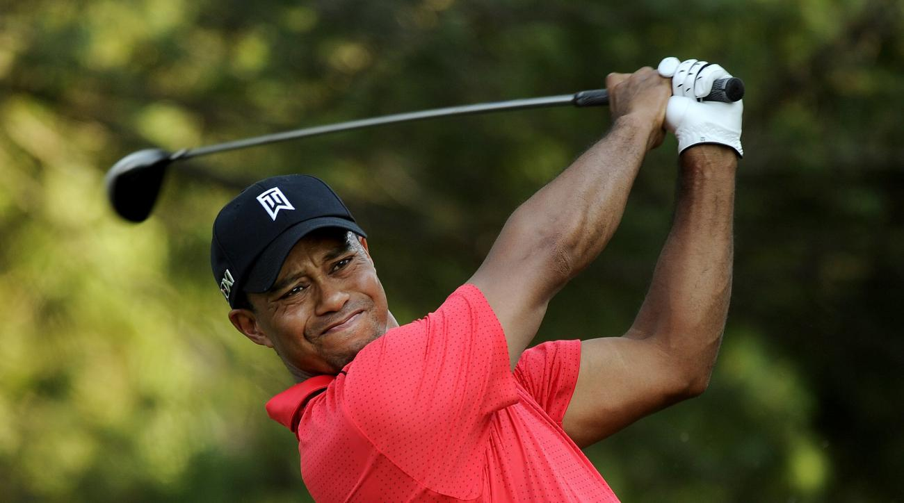 Tiger Woods hits a shot on the 17th hole during the final round of the 2012 AT&T National (now Quicken Loans National).