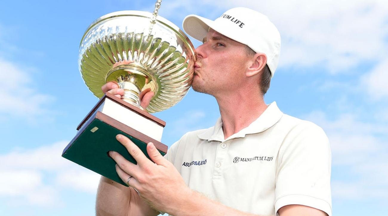 Roope Kakko of Finland poses with the trophy after winning the Madeira Islands Open on Aug. 2, 2015, in Funchal, Madeira, Portugal.