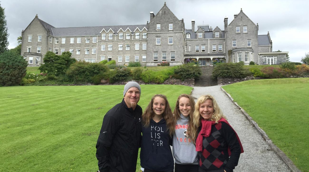 The Riggs family stands in front of the Park Hotel in Kenmare during a trip to Ireland. They say the trip overseas was well worth it.